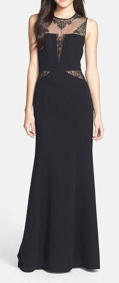 BCBGMAXAZRIA Lace Inset Crepe Gown....I like the shape of this. Not crazy about the lace cutouts.