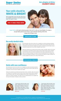 teeth whitening product responsive landing page design