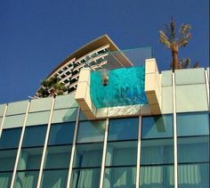 If you're afraid of heights, this balcony swimming pool might not be for you.