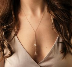 Quartz Gold Necklace Simple Necklace Silver by FeminaHandmade
