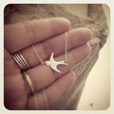 Sterling Silver Swallow Bird Necklace  All Sterling Silver by cocowagner, $23.90