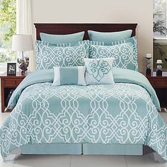 Buy Dawson Reversible Twin Comforter Set in Blue/White from Bed Bath & Beyond Comforter Sets, Comforters, Bed Comforters, Bed, Bed Bath And Beyond, Bed Styling, Luxury Bedding, Bedding Sets, White Bedding