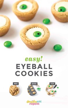 Easy Halloween Eyeball Cookies the kids can help with! After baking, simply press a miniature white peanut butter cup and M&M into the top of each one for a spooky (but cute!) halloween cookie idea. #Halloween #Cookies #EyeballCookies   www.DesignEatRepeat.com