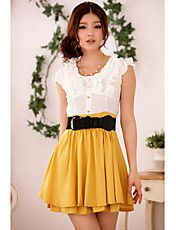 Women's+Contrast+Color+Layered+Ruffle+Pleated...+–+USD+$+18.50