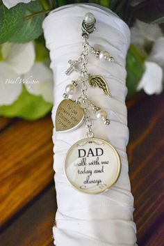 Bridal Bouquet Charm-Wedding Bouquet Charm-Wedding Memorial-In Memory Of Dad-Bridal Gift-Gift For Bride-Walk With Me Dad by PetalWhispers on Etsy
