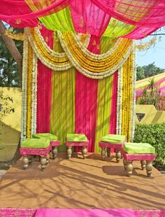 A colorful mandap for an Indian Wedding