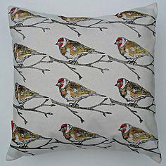 Gold Finch Bird Print Cotton Cushion Cover