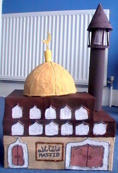 Paper Mache' Mosque, masjid. This is a great craft idea to get your kids to make a Mosque. You might even be able to turn it into a bank or a collection box for charity.