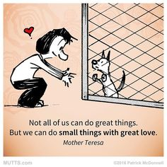 Not all of us can do great things. But we can do small things with great love - Mother Teresa ❤️ I Love Dogs, Puppy Love, Game Mode, Great Quotes, Inspirational Quotes, Motivational, Mutts Comics, Great Love, Rescue Dogs