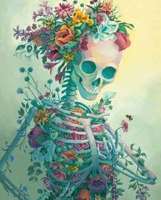 """Life fullsize Print - Acrylic Painting Art Reproduction Skeleton Flowers Bouquet Death Bee Creepy Pretty Colorful Colors Poster Life is an original painting by Lisa Lindsay. """"Skeletons are often seen as something scary or a symbol of death. Skeleton Flower, Skeleton Art, Skeleton Tattoos, Skull Tattoos, Body Painting, Painting Art, Poster Colour, Anatomy Art, Art Reproductions"""