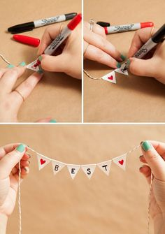 Learn how to make a darling and simple bunting cake topper!<br> We show you how to transform a super common adhesive into the most adorable bunting cake topper you have ever seen; personalized with a unique saying! Diy Bunting Cake Topper, Diy Bunting Banner, Cake Toppers, Bunting Ideas, Fabric Bunting, Diy Garland, Friend Birthday Gifts, Diy Birthday, Best Friend Gifts