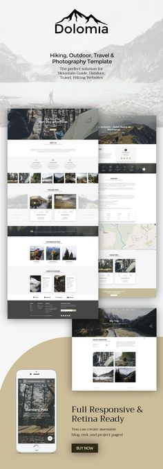 Buy Dolomia - Hiking, Outdoor, Mountain Guide HTML Template by puredesignThemes on ThemeForest. Dolomia is a fully responsive HTML5 & CSS3 template designed with a creative and clean design. Th...