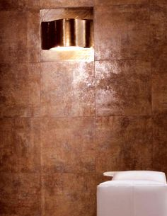 """Our new favorite tile - Marca Corona Tile - """"Reaction"""" in brown -  recycled content porcelain tile.  Beautiful deep brown with rust overtones"""