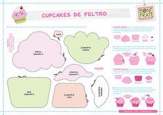 Cupcakes de Feltro (PAP com molde) • BoniFrati
