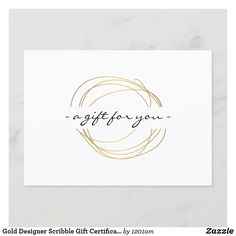 Gold Designer Scribble Gift Certificate Massage Gift Certificate, Gift Certificate Template, Gift Certificates, Gold Business Card, Business Gifts, Business Card Holders, Going Away Gifts, Company Gifts, Spa Gifts