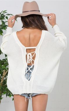 White Oversized Slouchy Tie Back Sweater