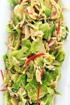 Sweet Hot Mustard Brussels Sprout and Apple-Almond Salad