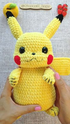 CROCHET PIKACHU PATTERN - Amigurumi Pokemon Pdf pattern - Crochet Pokémon Pikachu Plush toy - Detective pikachu stuff toy Crochet pattern Amigurumi Pikachu (in English) This tutorial contains a detail Pikachu Pikachu, Amigurumi Pikachu, Crochet Pikachu, Pokemon Crochet Pattern, Amigurumi Doll, Pokemon Toy, Pokemon Stuff, Minion Stuff, Pokemon Craft