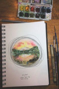 Süße Idee, das Landschaftaquarell einfach mit ein paar Tuschekreisen einzurahmen.
