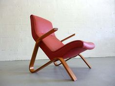 On ebay early original eero saarinen red leather grasshopper chair by knoll eames aalto