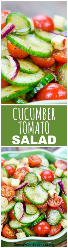 Cucumber Tomato Salad, a crisp, colorful, refreshing side with salty bits of mozzarella and a rich, tangy balsamic vinaigrette.