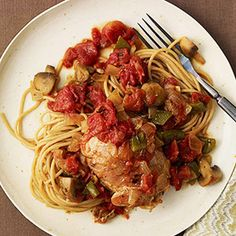Chicken Express: Healthy Family Dinners: Chicken Cacciatore with Whole-Wheat Spaghetti (via Parents.com)