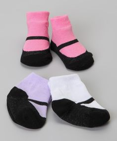 This soft set of socks has stretchy ribbed cuffs that keep them from sliding down ankles. Coming in a range of colors and prints that look like sweet mary janes, this assortment assures that girls have a fun pair to wear with any outfit.