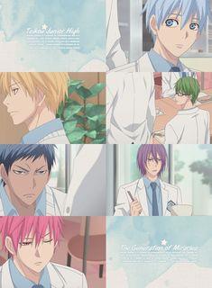 Tetsuuya, Kise, Midorima,  Aomine,  Murasakibara et Akashi