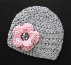 Baby Girl Hat, Newborn Photo Photography Prop Crochet Knit Infant Hat, Gray Cap Pink Flower Bling Button Winter Fall Spring 3-6 Month Beanie...