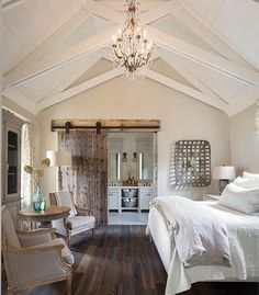 Country Master Bedroom with flush light, High ceiling, Master ...