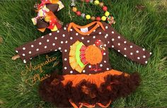 Baby Girl Thanksgiving Outfit Onesie w/ Matching by MagnoliaFlair