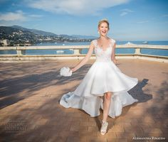 alessandra rinaudo 2017 bridal cap sleeves scoop neckline lace heavily embellished bodice pretty knee length short wedding dress illusion back long train (10) mv