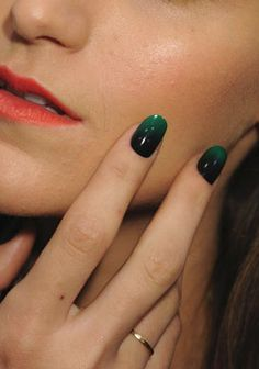 Black + green nails #nail #art