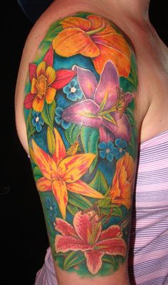 Sheena'S flower arm tattoo by asussman on deviantart tattoo videos, floral arm tattoo, colorful Half Sleeve Flower Tattoo, Floral Arm Tattoo, Flower Tattoo Back, Flower Tattoo Shoulder, Flower Tattoo Designs, Tattoo Flowers, Flower Designs, Orchid Tattoo, Tropical Flower Tattoos