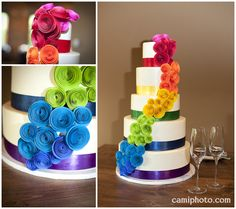 City Bakery made this 5 tiered white wedding cake that the bride's mom adorned with handmade paper flowers in rainbow clusters.  Definitely is one of the prettiest and most unusual cakes I have gotten to capture!  Pack's Tavern Century Room Reception downtown Asheville, NC.  www.camiphoto.com