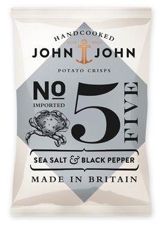 John John Handcooked Sea Salt & Black Pepper Potato Crisps Packaging Design