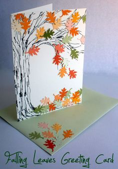 Falling Leaves Greeting Card for Autumn