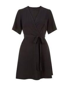Black Flutter Sleeve Wrap Front Dress   New Look