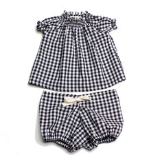 So cute! #Gingham Smocked Set In Black, for similar fabric see our #Organic Cotton Woven Gingham... www.drapersdaughter.com