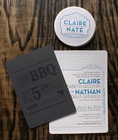 Letterpress Invitation: Claire + Nathan 1/7 by smokeproof, via Flickr