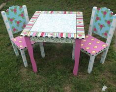 Items similar to Childrens hand painted table and chair set on Etsy