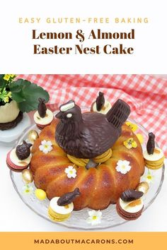 A light moist almond lemon Easter cake, covered with lemon syrup and decorated with macarons, chocolate eggs, sugared edible flowers and French mendiants Easter Cake Gluten Free, Gluten Free Cakes, Gluten Free Baking, Kid Desserts, Asian Desserts, Baking Recipes, Cake Recipes, Easy French Recipes, Easy Cake Decorating