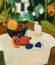 Georges Borgeaud - Nature morte aux Fruits, 1972/79 - Huile sur toile, 65x54 cm.