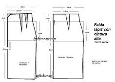 894031635f Descarga gratis Patrones para falda lápiz con talle alto Tallas desde 36  hasta 56