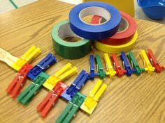 Squeezing and Placing Clothespins for Strengthening and Color Matching - Pinned by @PediaStaff – Please Visit ht.ly/63sNtfor all our pediatric therapy pins
