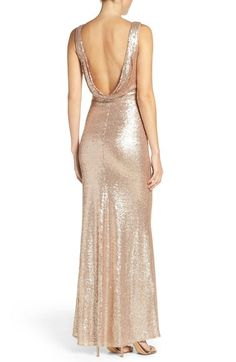 Main Image - Lulus Sleeveless Sequin Drape Back Gown Metallic Bridesmaid Dresses, Gold Sequin Dress, Grad Dresses, Formal Dresses, Wedding Suits, Maid Of Honor, Wedding Bells, Sequins, Gowns