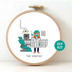 Dentist Cross Stitch Kit. Dentist DIY gift. Gift for dentist assistant. Embroidery kit for beginners.