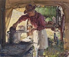 """Loren Entz (1949) - """"Country Kitchen"""" - Oil."""