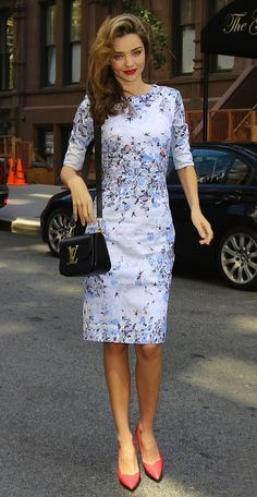 Miranda Kerr Summer Street Style - Dress, LV Bag