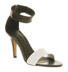Office OBEY ME SANDAL BLACK WHITE LEATHER Shoes - Womens High Heels Shoes - Office Shoes